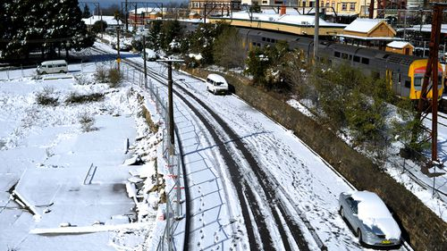 Snow covered the railway tracks at the Blue Mountains on Saturday.