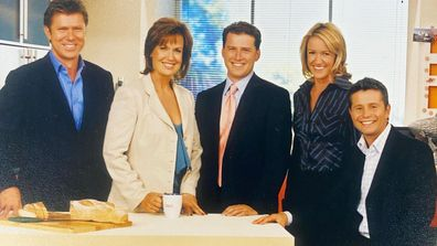 Tracy Grimshaw with her Today show team of Leila McKinnon, Richard Wilkins, Karl Stefanovic and Steve Jacobs.