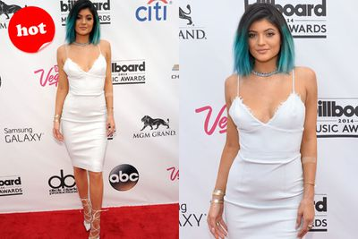Why so blue Kylie? Jenner junior rocks white leather and lace-ups on the red carpet.