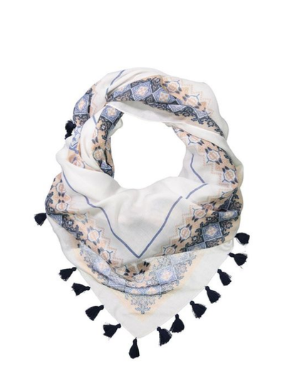 "<p><a href=""http://cottonon.com/AU/p/cotton-on-women/rediscovering-tassle-scarf/9350486526480.html?region=AU#start=1"" target=""_blank"">Cotton On Rediscovering Tassle Scarf, $16.95.</a></p> <p>A detailed scarf will take you from casual to stylish and just like that.</p>"