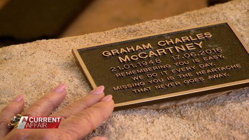 Roslyn's late husband's ashes are interred in her backyard.