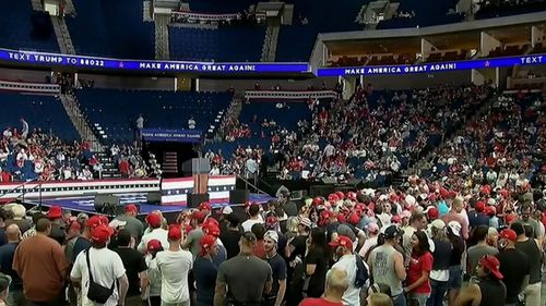 Trump addressed the smaller than expected crowd at his first rally since the coronavirus outbreak.