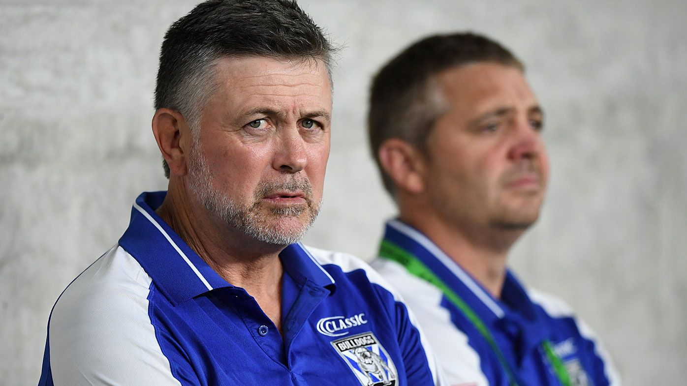Bulldogs coach Dean Pay (left) during the Round 1 NRL match