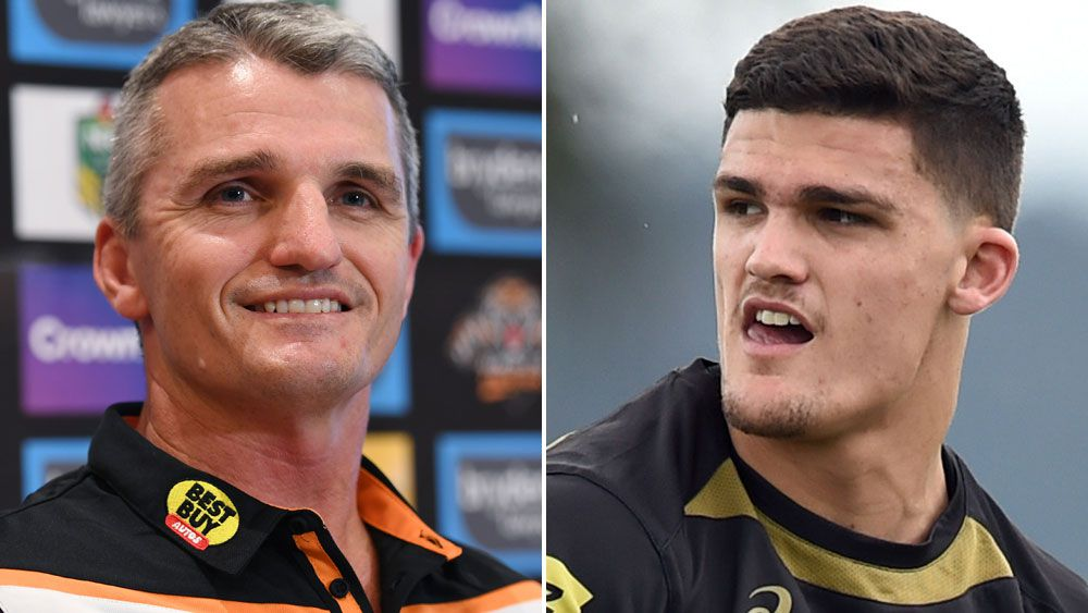 Wests Tigers coach Ivan Cleary and Penrith halfback Nathan Cleary.