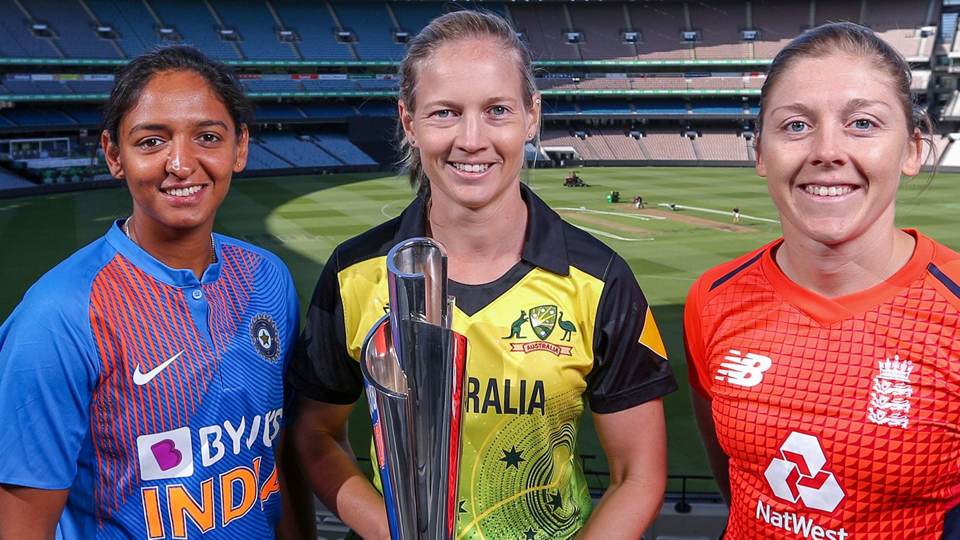 Womens T20 Captains Heather Knight of Great Britain, Meg Lanning of Australia and Harmanpreet Kaur of India