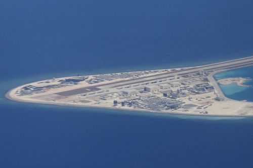 An airstrip, structures, and buildings on China's man-made Subi Reef in the Spratly chain of islands in the South China Sea.