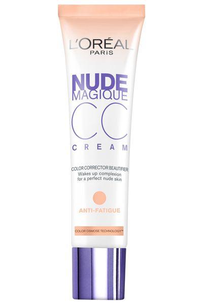 "<a href=""https://www.priceline.com.au/l-oreal-paris-nude-magique-cc-cream-anti-fatigue-30-ml"" target=""_blank"">Nude Magique Anti-Fatigue CC Cream, $26.95, L'Oréal</a>"