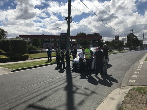 It's believed a device was located at the back of the petrol station. (9NEWS)