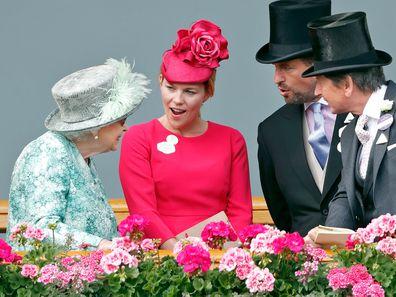 Queen Elizabeth II, Autumn Phillips, Peter Phillips and John Warren at Royal Ascot 2018.