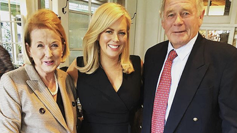 Samantha Armytage with her mother and father.
