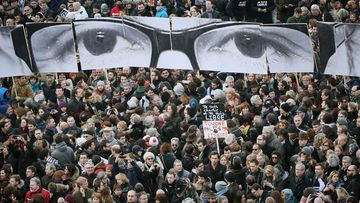 People gather for a march against terrorism in Paris. (AAP)