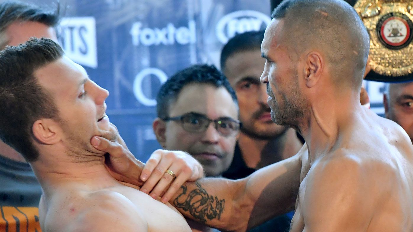 Boxing: Anthony Mundine and Jeff Horn come to blows at official pre-fight weigh-in