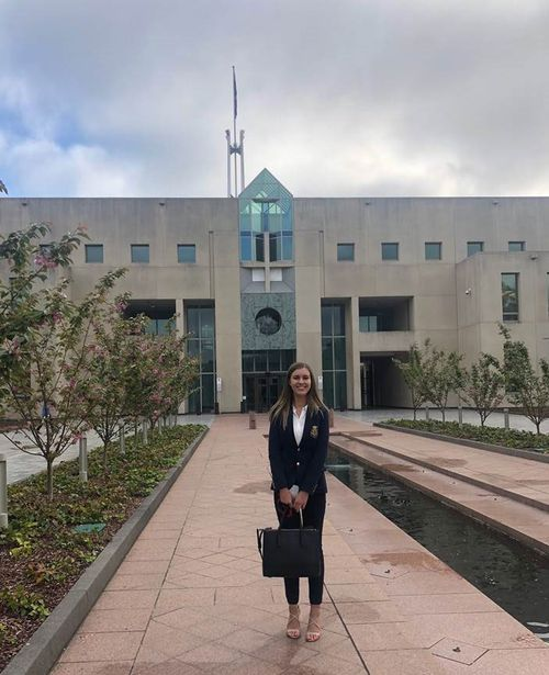 Brittany Higgins on her first day working at Parliament House in Canberra.