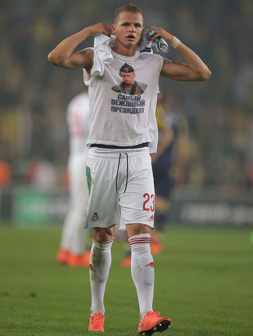 Tarasov faces a potentially lengthy ban for displaying a political statement on the pitch. (AAP)