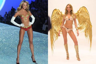 Candice Swanepoel is just as angelic as ever... and she'll be back too.<br/><br/>Victoria's Secret shared a sneak peek Instagram shot of her trying on golden wings for the upcoming show.