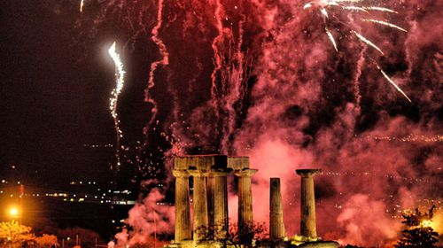 Fireworks illuminate the sky over the temple of Apollo during celebrations of the Greek Orthodox Easter Sunday in ancient Corinth, Greece. (AP).
