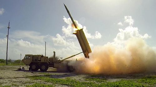 A file photograph shows a terminal High Altitude Area Defense (THAAD) interceptor being launched from a THAAD battery located on Wake Island in the Pacific Ocean. (AFP)