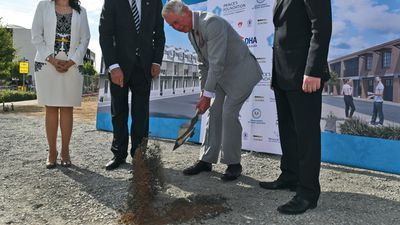 The prince turned the first sod during the visit to Bowden. (AAP)