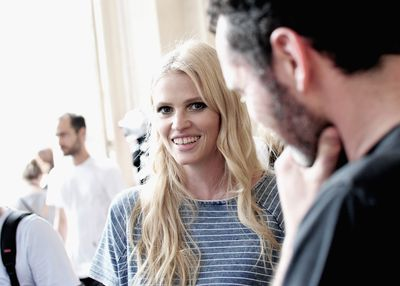 <p>Lara Stone opened the show in a lavender gown.</p>
