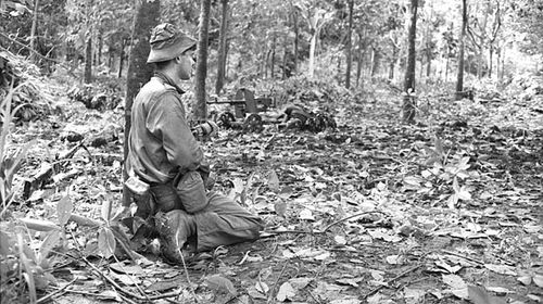 An Australian soldier during the battle of Long Tan in Vietnam on August 18, 1966. (AAP/Australian War Memorial)