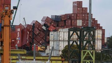 Containers at a Ports of Auckland facility in Wiri had toppled in the wind.
