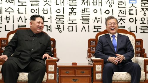 The North Korean leader did not mention his nuclear capabilities during a live broadcast of the peace talks. (AAP)