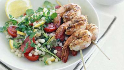 """Get a salad into the mix with your BBQ prawns and try our<a href=""""http://kitchen.nine.com.au/2016/05/19/17/11/warm-moghrabieh-salad-with-barbecued-prawn-brochettes-and-almond-tarator"""" target=""""_top"""">Warm moghrabieh salad with barbecued prawn brochettes and almond tarator</a>recipe"""