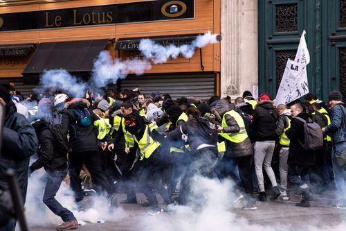 "A man has died in southern France after his car hit a truck at a road block erected by ""yellow vest"" protesters."