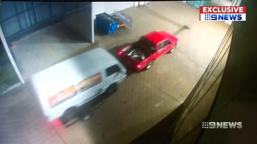 He left, but came back with a cherry-red ute and a trailer. Picture: 9NEWS