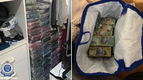 Police found drugs and cash at properties.