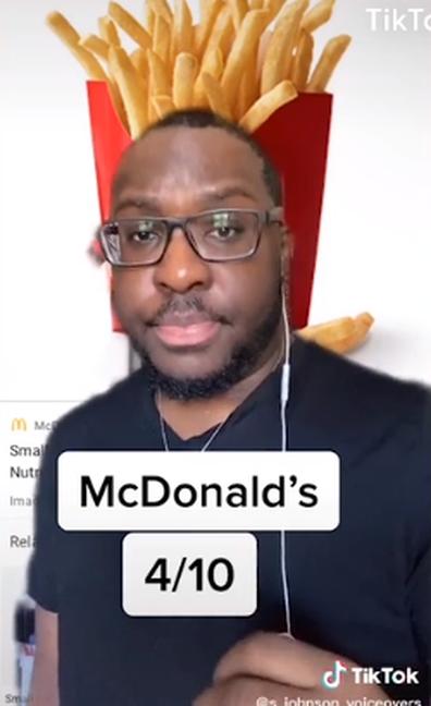 Man on TikTok reviewing McDonald's