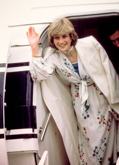 All smiles leaving Hampshire at the start of her honeymoon in 1981.
