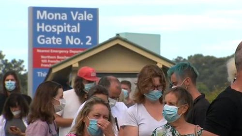Lines at Mona Vale Hospital this evening.