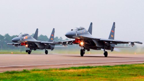 According to Taiwan's defence ministry, 16 Chinese military aircraft entered Taiwan's air defence identification zone on Sunday, including 12 fighters.