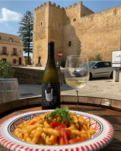 Local pasta at Kuddura in the central plaza. Salemi, Sicily.