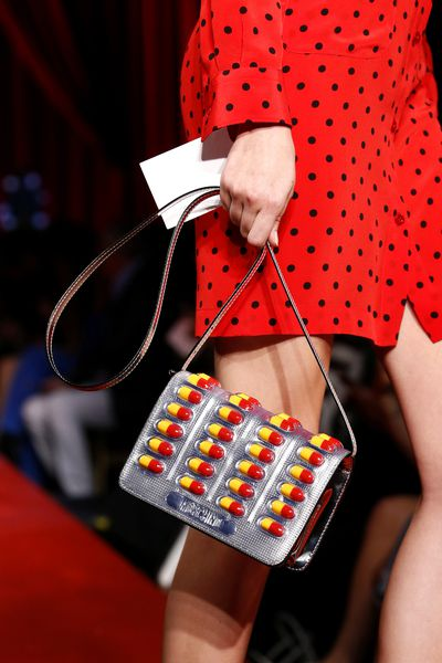<p>Pill popping handbag.</p> <p>Moschino, spring/summer '17, Milan Fashion Week</p>