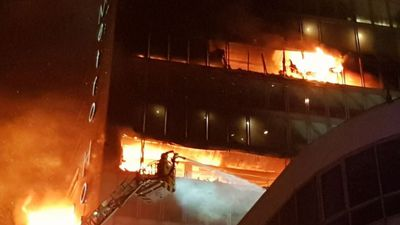 Massive fire spreading through Dublin hotel