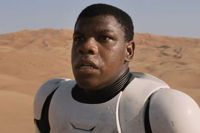 You're about to see a lot of this face, because British actor Jon Boyega is playing a stormtrooper in <i>Star Wars: Episode VII</i>. What a sweet gig!<br/><br/>Image: <i>Star Wars: Episode VII</i>, Disney.