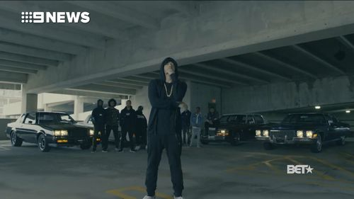 Eminem appears in the recent freestyle rap video. (Twitter/BET)