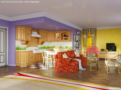 '90s open plan living and kitchen room