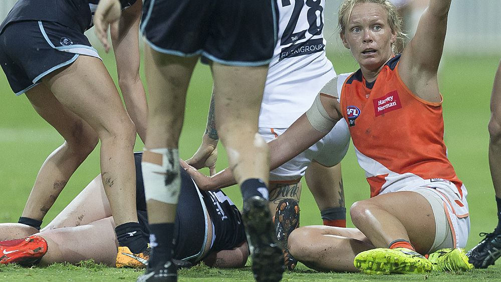 AFLW star injured as Carlton smash GWS Giants in wet and wild encounter
