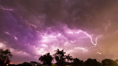 <p>South-east Queensland residents have captured images of spectacular lightning shows, as severe storms tracked over the region.</p><p>Here, lightning flashes over Wellington Point, Redland City.</p><p><strong>Click through the gallery to see more images of the wild weather.</strong></p><p>(Supplied / Virginie Eastwell)</p>