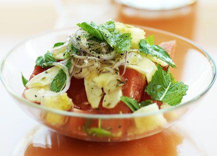 Watermelon, bread and haloumi salad