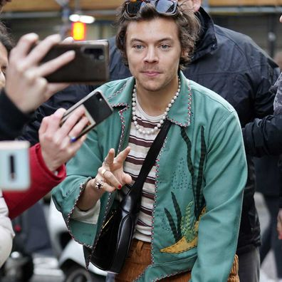 Harry Styles leaving BBC radio on February 14 in London.