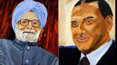 Indian PM Manmohan Singh and former Italian PM Silvio Berlusconi. (AAP)