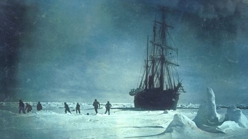 Members of the Shackleton crew played football on the ice in front of the stranded Endurance.