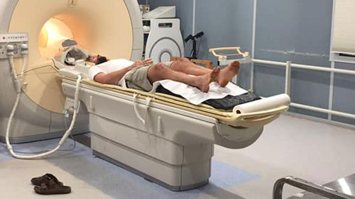 Joel North undergoing an MRI scan.