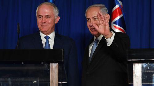 Australian Prime Minister Malcolm Turnbull (left) and Israeli Prime Minister Benjamin Netanyahu. (AAP)