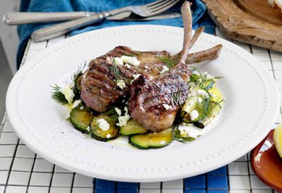 Wednesday: Char-grilled lamb with zucchini, feta and dill