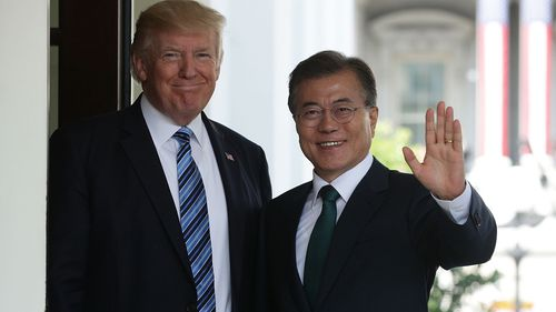 South Korean President Moon Jae-in says Donald Trump 'can take the Nobel (peace) prize.' (Getty)